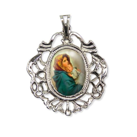 MD129037 - Medalha N. Sra. Do Repouso Camafeu Níquel - 5,5x4,2cm