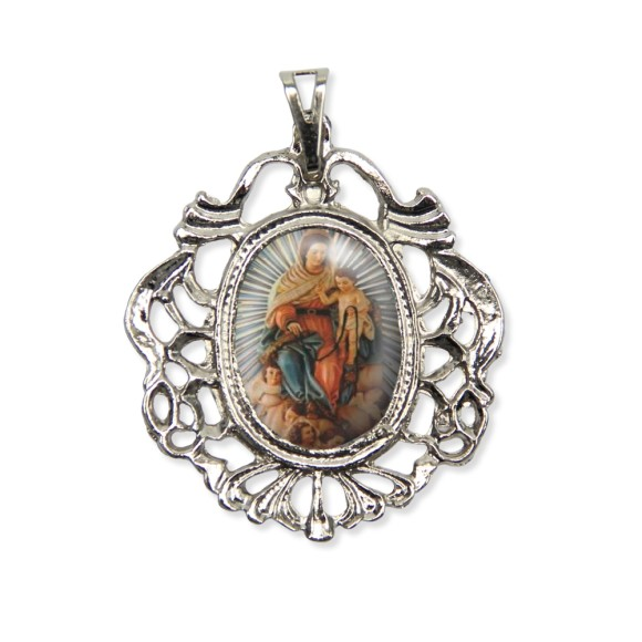 MD129042 - Medalha N. Sra. Dos Aflitos Camafeu Níquel - 5,5x4,2cm