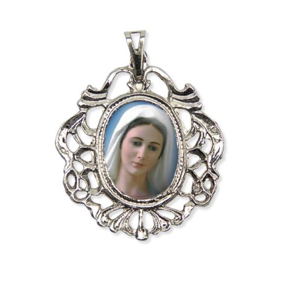 MD129046 - Medalha Rainha da Paz Camafeu Níquel - 5,5x4,2cm