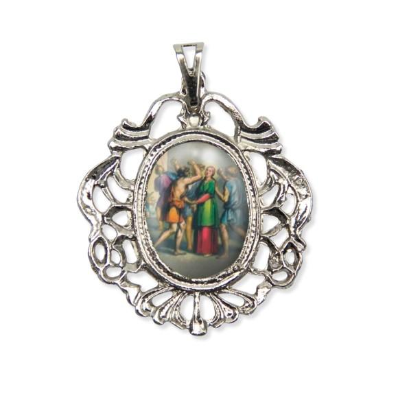 MD129050 - Medalha Santa Apolônia Camafeu Níquel - 5,5x4,2cm
