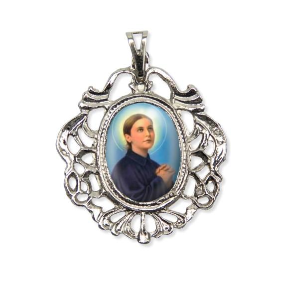 MD129060 - Medalha Santa Gemma Galgani Camafeu Níquel - 5,5x4,2cm