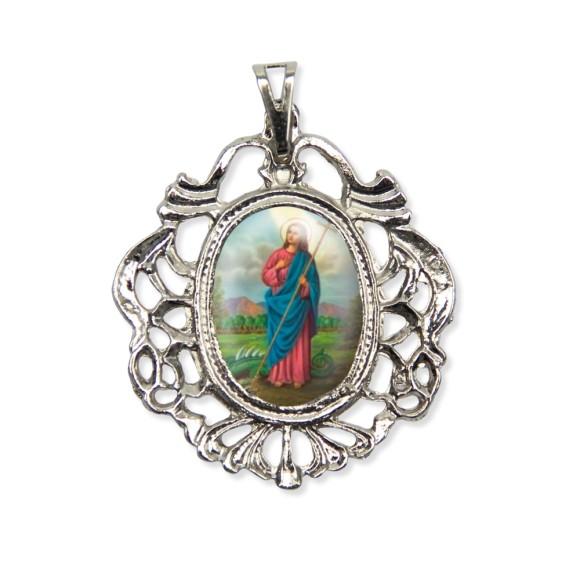 MD129069 - Medalha Santa Marta Camafeu Níquel - 5,5x4,2cm