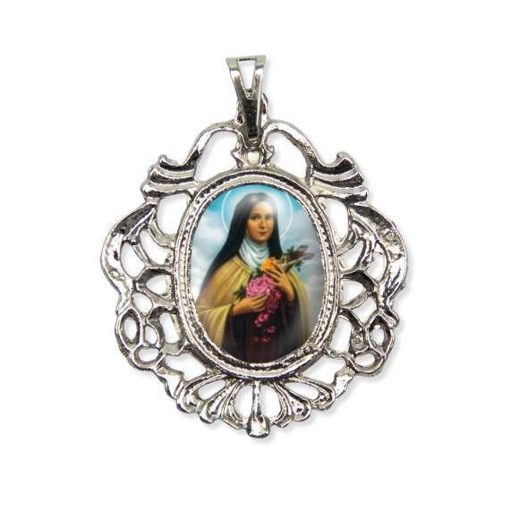 MD129076 - Medalha Santa Terezinha das Rosas Camafeu Níquel - 5,5x4,2cm