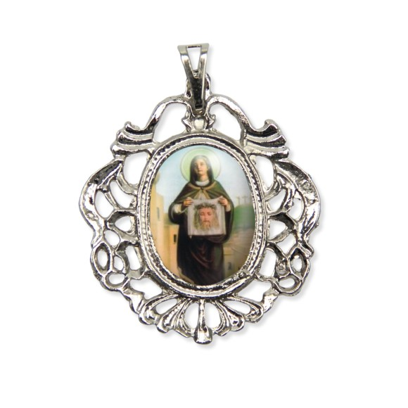 MD129077 - Medalha Santa Vêronica Camafeu Níquel - 5,5x4,2cm