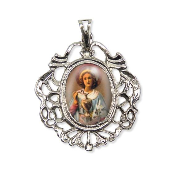 MD129078 - Medalha Santa Zita Camafeu Níquel - 5,5x4,2cm