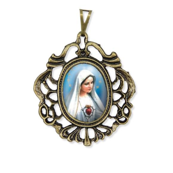MD129200 - Medalha Imaculado Coração de Maria Camafeu Ouro Velho - 5,5x4,2cm