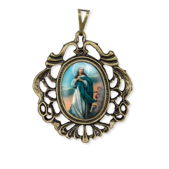 MD129203 - Medalha N. Sra. Da Conceição Camafeu Ouro Velho - 5,5x4,2cm
