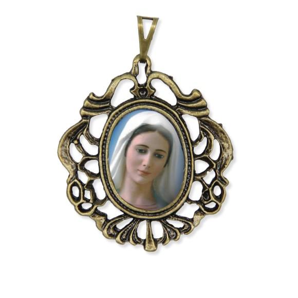 MD129211 - Medalha Rainha da Paz Camafeu Ouro Velho - 5,5x4,2cm