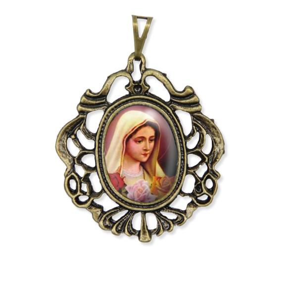 MD129212 - Medalha Rosa Mística Camafeu Ouro Velho - 5,5x4,2cm