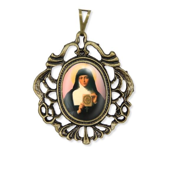MD129217 - Medalha Santa Margarida Maria Camafeu Ouro Velho - 5,5x4,2cm