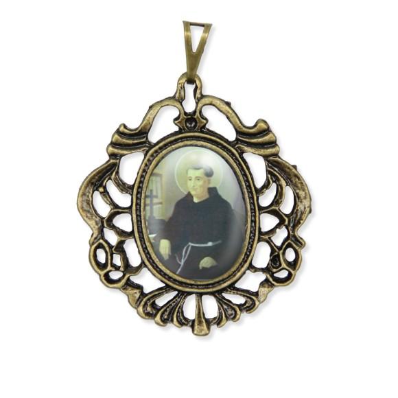MD129601 - Medalha Frei Galvão Camafeu Ouro Velho - 5,5x4,2cm