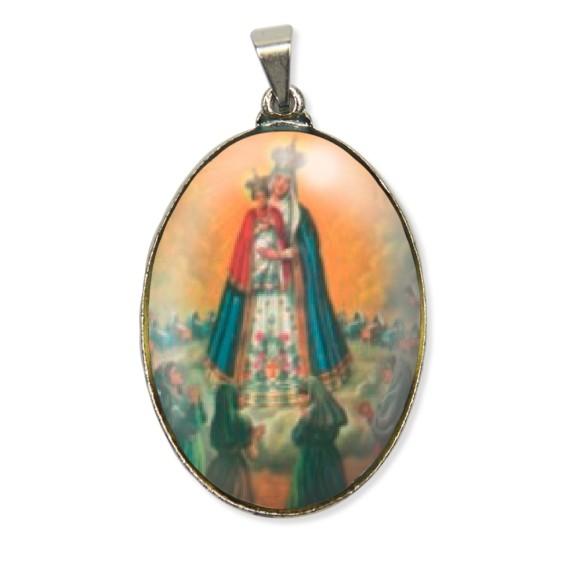 MD130004 - Medalha N. Sra. Do Bom Parto Resinada Oval Níquel - 6x3,2cm