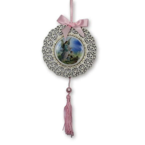 ME800011 - Medalhão de Berço Anjo da Guarda Rosa c/ Strass- 23x1,5cm