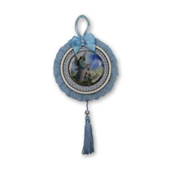 ME800050 - Medalhão de Berço Anjo da Guarda Azul c/ Renda - 28x13cm