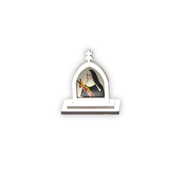 CP81011 - Cápela Santa Rita de Cassia MDF Branca - 6x5,5cm