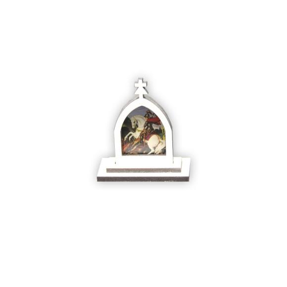CP81059 - Capela São Jorge MDF Branca - 6x5,5cm