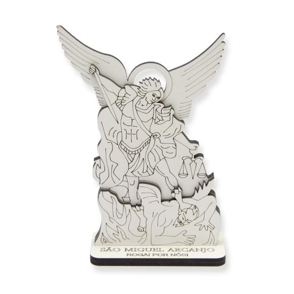 AO290551 - Pedestal São Miguel Arcanjo MDF Branco - 13,5x9cm