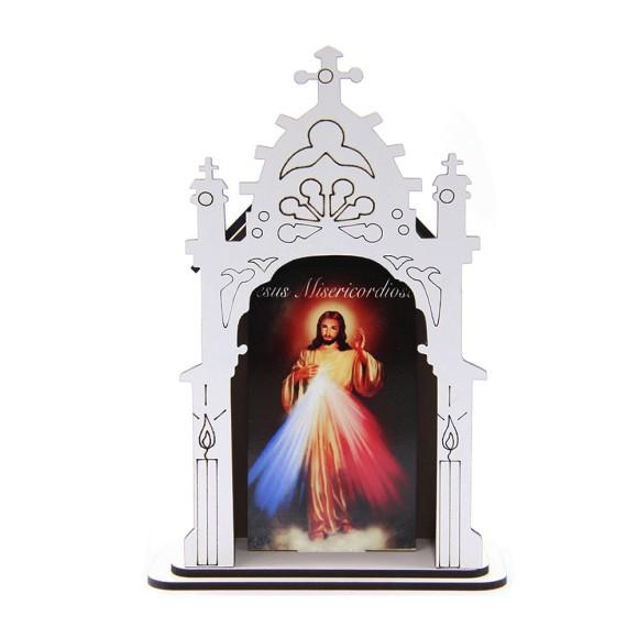 OT810700 - Oratório Jesus Misericordioso MDF Branco - 17x11,7cm