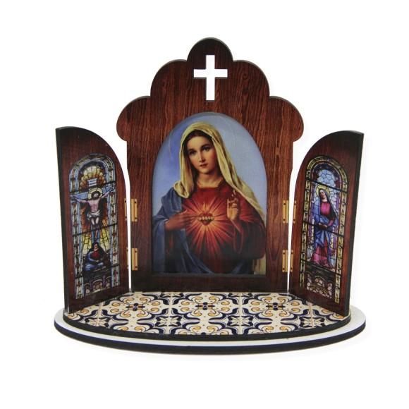 OT811100 - Oratório Sagrado Coração de Maria  MDF - 11x13cm