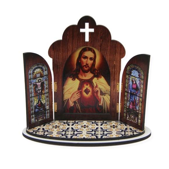 OT811150 - Oratório Sagrado Coração de Jesus  MDF - 11x13cm