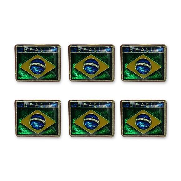 BO18002P6 - Botton Bandeira do Brasil c/ 6un. - 1,7x1,5cm