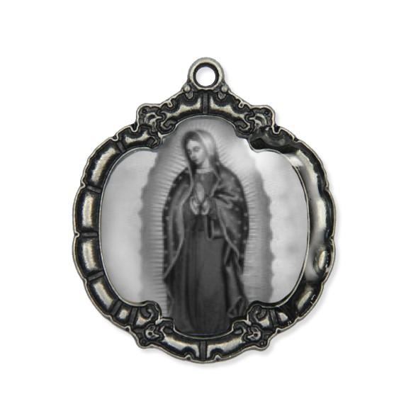 MD1320014 - Medalha N. Sra. De Guadalupe  Resinada Níquel Envelhecido - 5,5x4,8cm