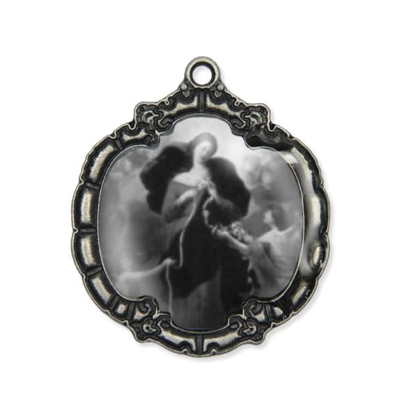 MD1320031 - Medalha N. Sra. Desatadora Dos Nós  Resinada Níquel Envelhecido - 5,5x4,8cm
