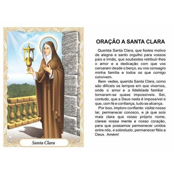 OG14025P100 - Oração Santa Clara c/ 100un. - 9,5x6,5cm