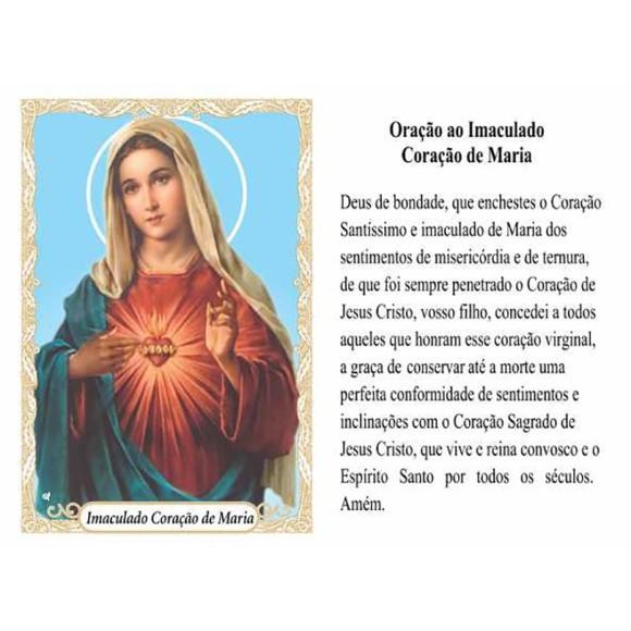 OG14027P100 - Oração Imaculado Coração de Maria c/ 100un. - 9,5x6,5cm
