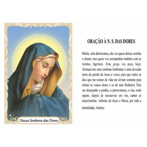OG14035P100 - Oração N. Sra. Das Dores c/ 100un. - 9,5x6,5cm