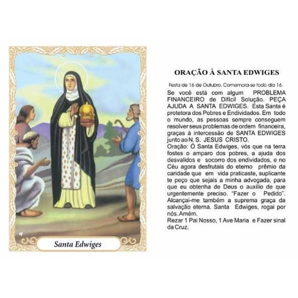 OG14036P100 - Oração Santa Edwiges c/ 100un. - 9,5x6,5cm